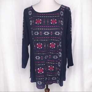 [Lucky Brand] 3/4 Sleeve Boho Embroidered Tunic XL